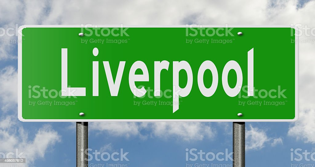 Liverpool highway sign stock photo