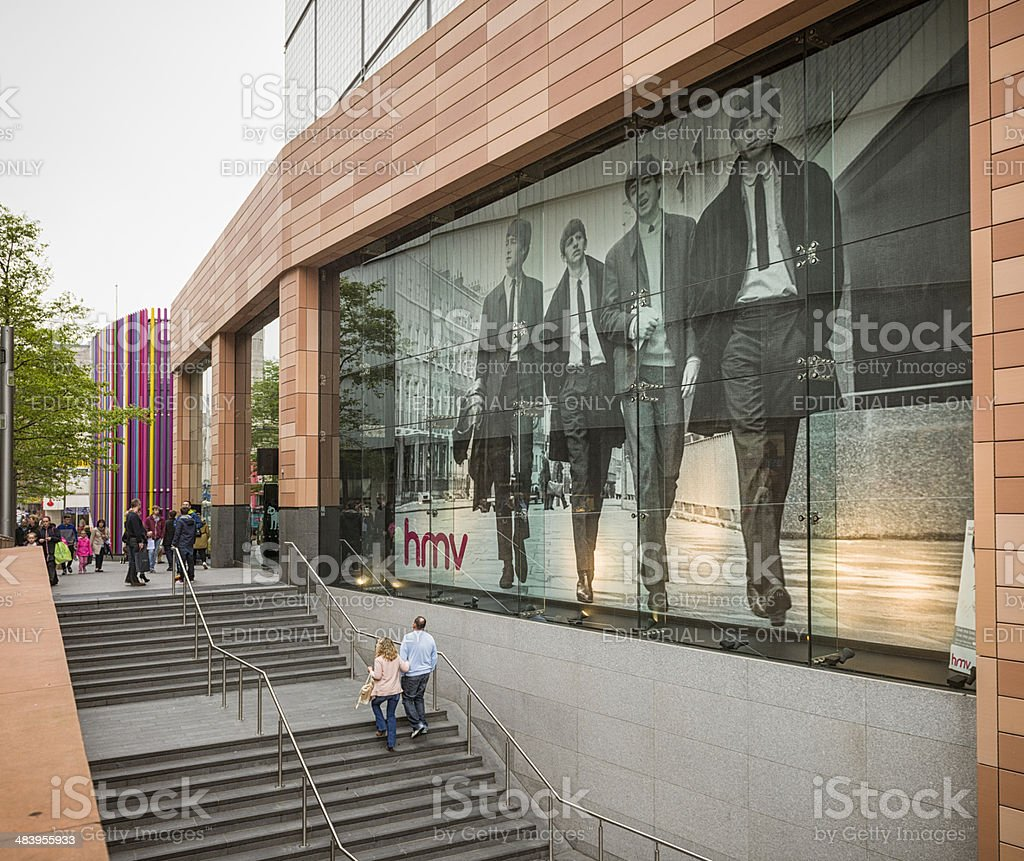 Liverpool HMV Poster of The Beatles stock photo