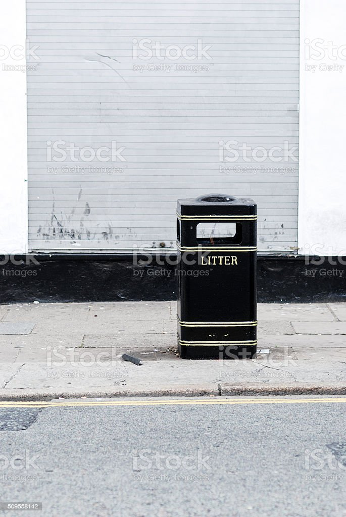 Liverpool litter bin with copy space stock photo