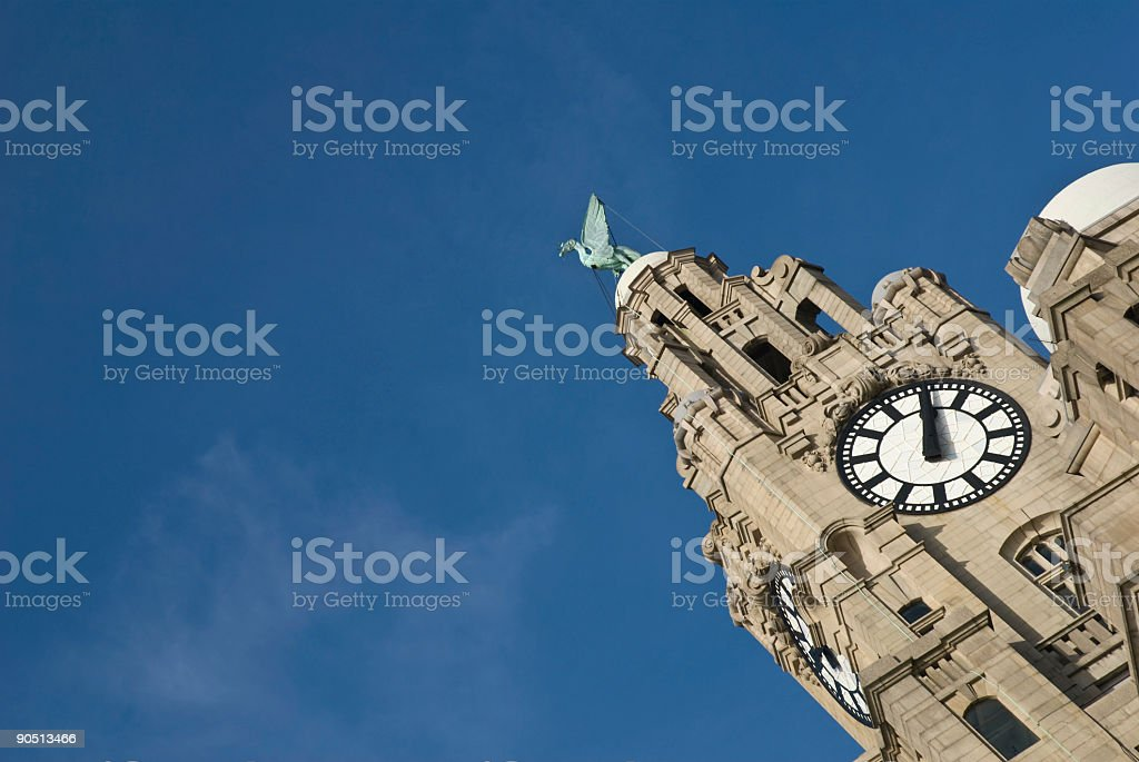 Liverpool Liver Building with copy space royalty-free stock photo