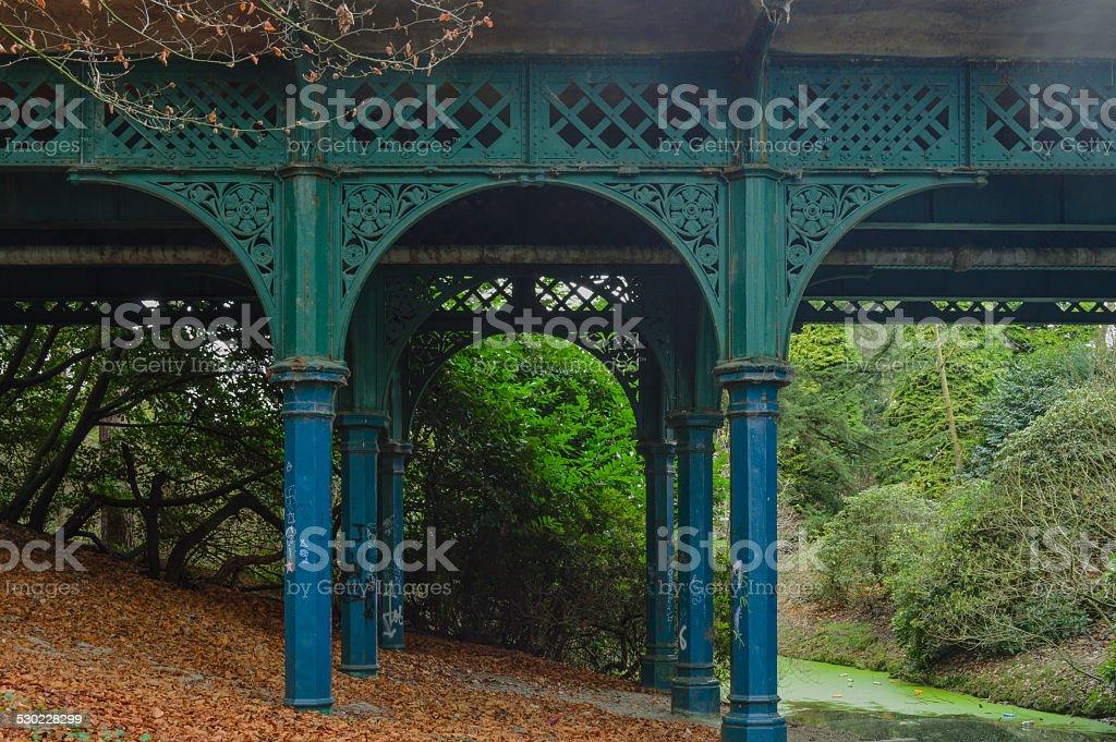 Liverpool, Sefton Park, Iron Bridge stock photo