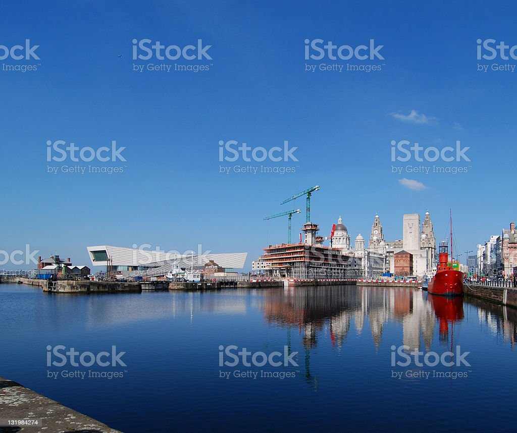Liverpool skyline with construction of the new museum royalty-free stock photo