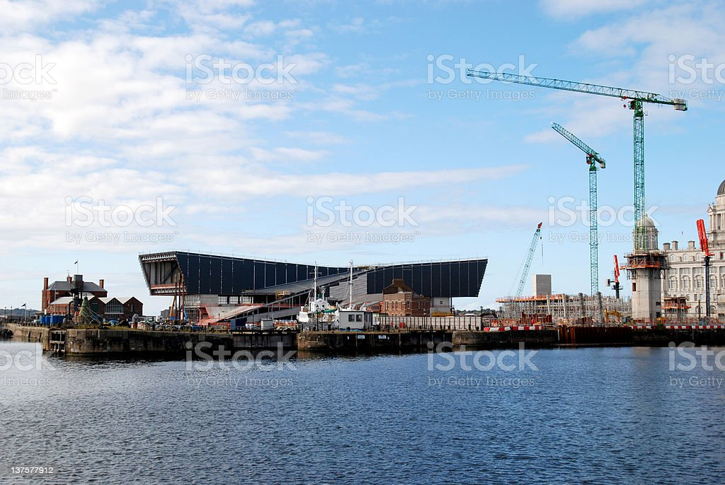 Liverpool skyline with construction of the new museum stock photo