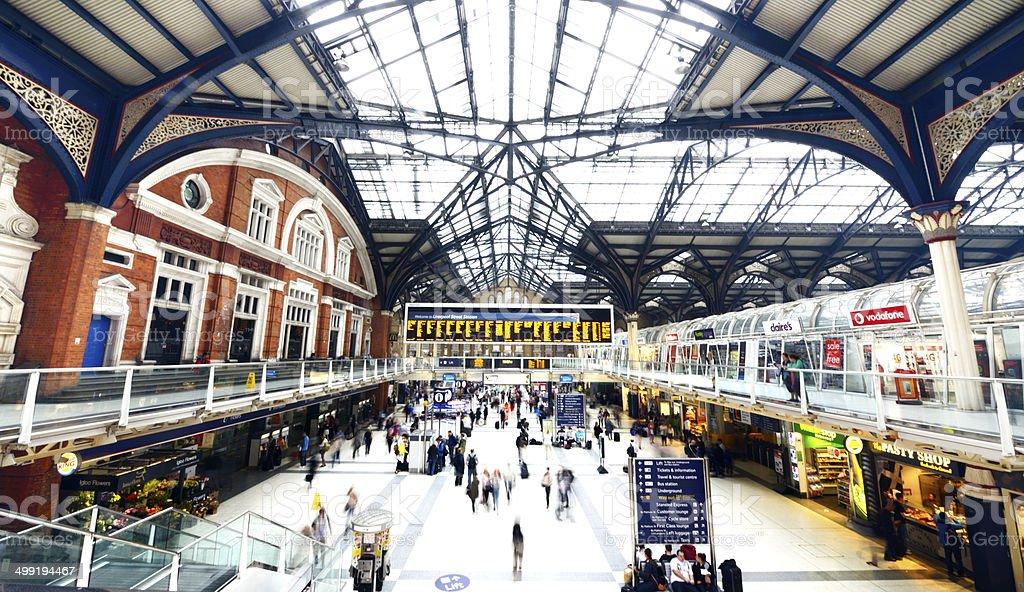 Liverpool Street Railroad Station at rush hour. London - England stock photo