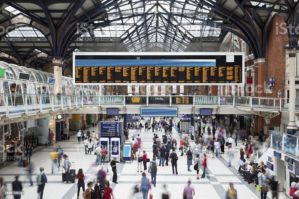 'Liverpool Street Station at Rush Hour, Motion Blur, London, UK' stock photo