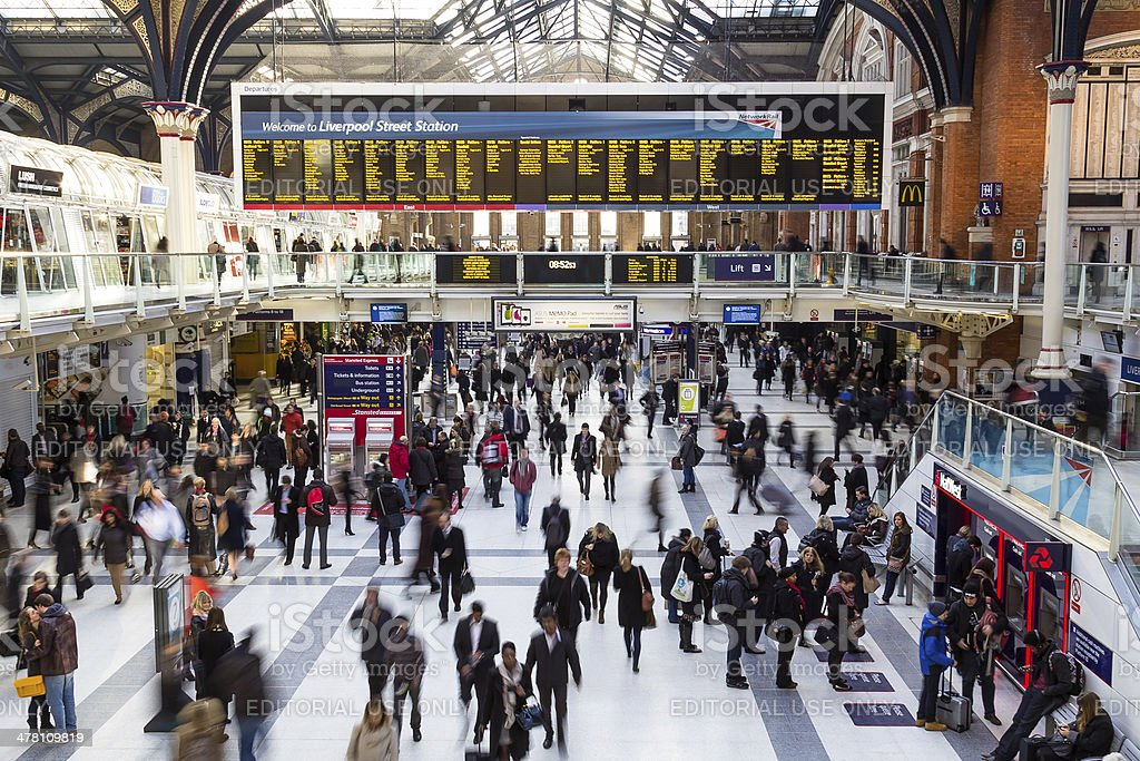 Liverpool Street Station at Rush Hour stock photo