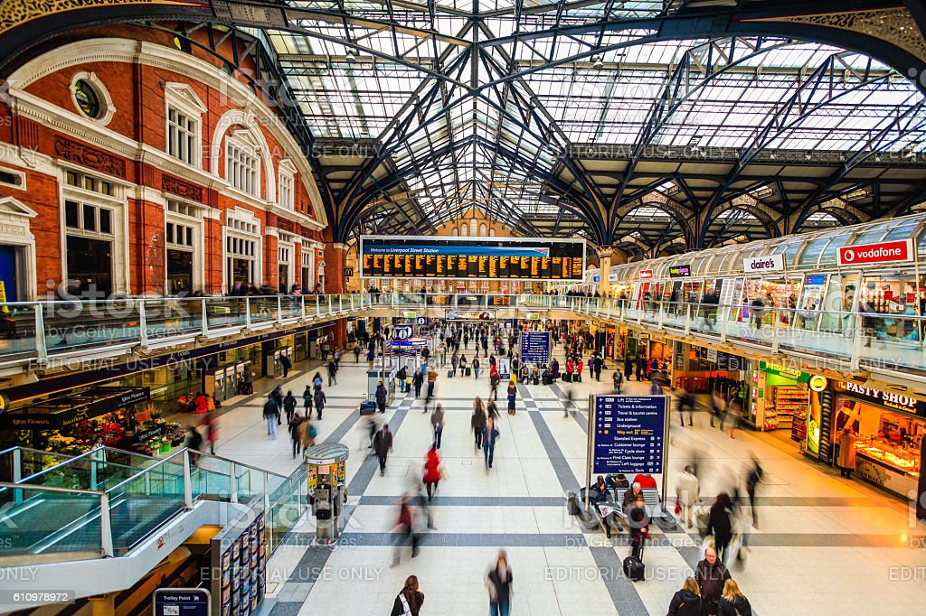 Liverpool Street Station in London, England stock photo