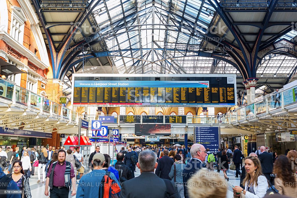 Liverpool Street Station in London, UK stock photo