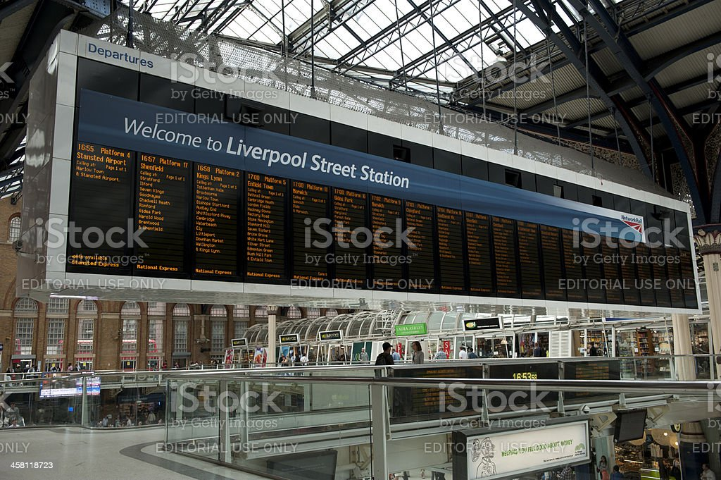 Liverpool Street Station sign stock photo