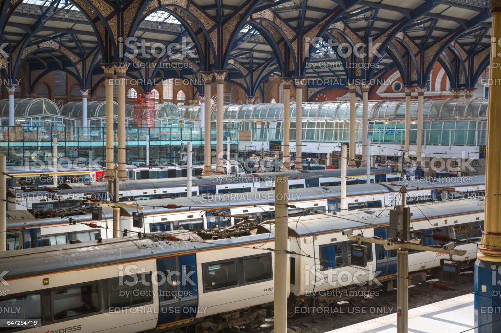 Liverpool street train station interior. Trains on the platforms ready to depart. stock photo