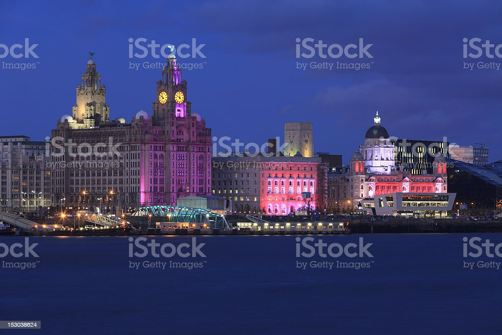 Liverpool Waterfront at Night stock photo