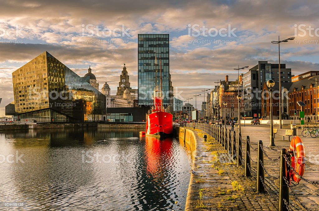 Liverpool Waterfront at Sunset stock photo