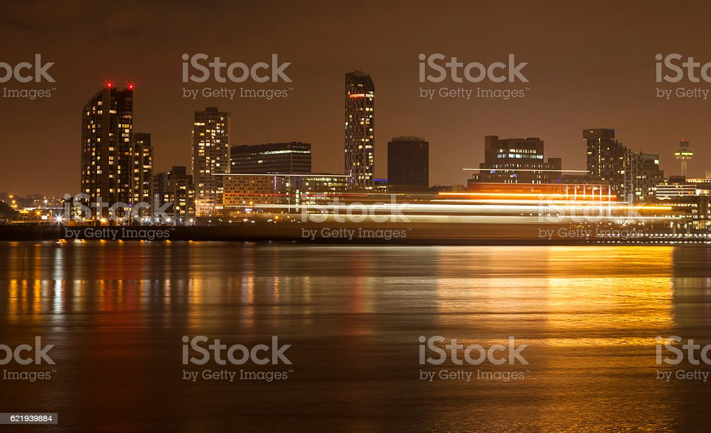 Liverpool Waterfront Light Trails stock photo