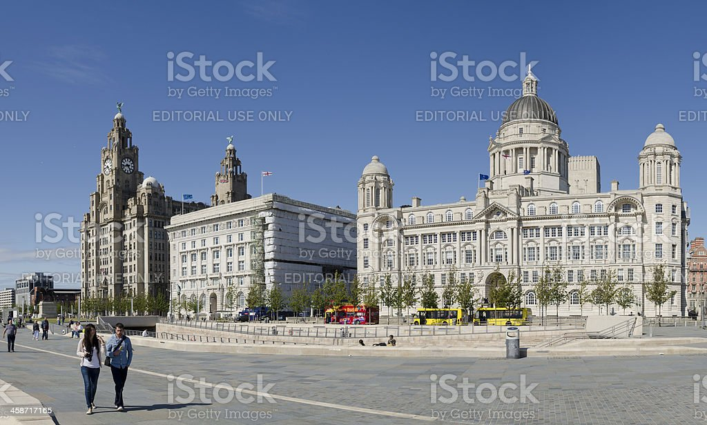 Liverpool waterfront, the Three Graces, Pier Head stock photo