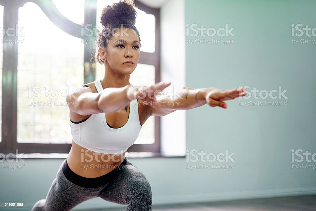 Living a balanced life with yoga stock photo