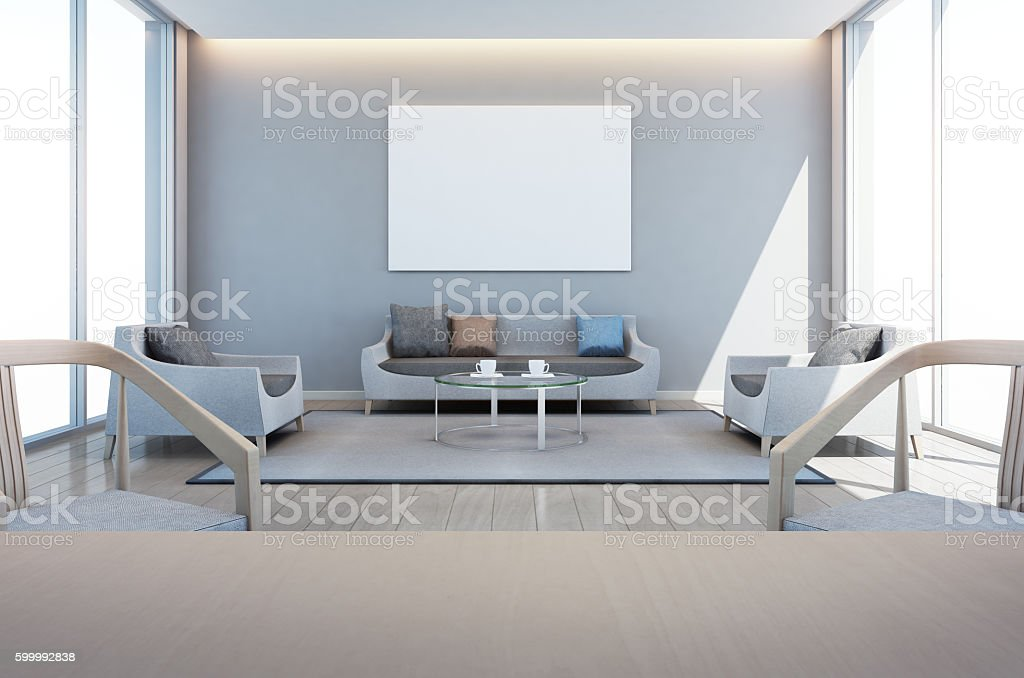 living and dining room in modern house with art frame stock photo