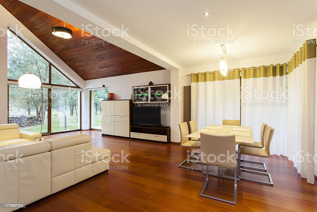 Living and dining room royalty-free stock photo