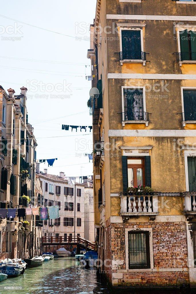 living area in Cannaregio sestieri in Venice city stock photo