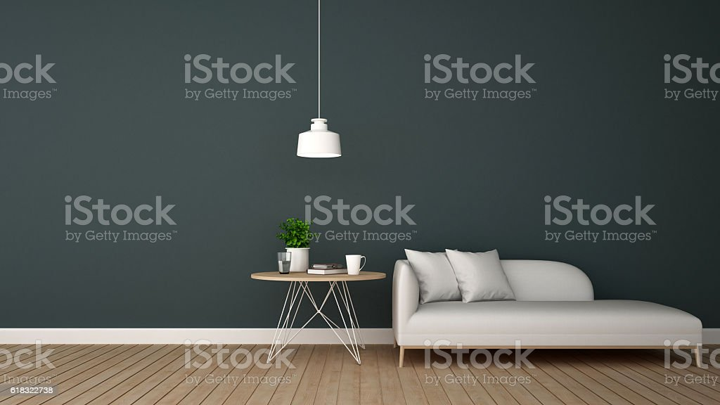 living area in lounge or ccoffee shop - 3D Rendering stock photo