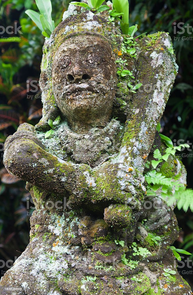 Living Green Stone Statue Bali Indonesia stock photo