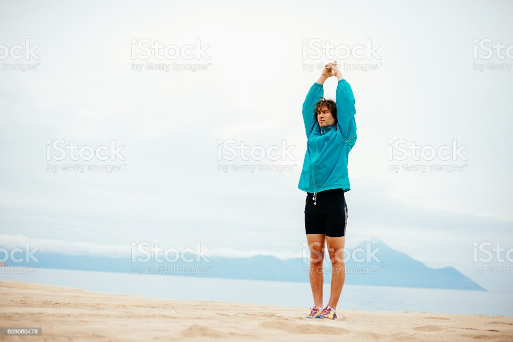Living healthy lifestyle on sea side in Greece stock photo
