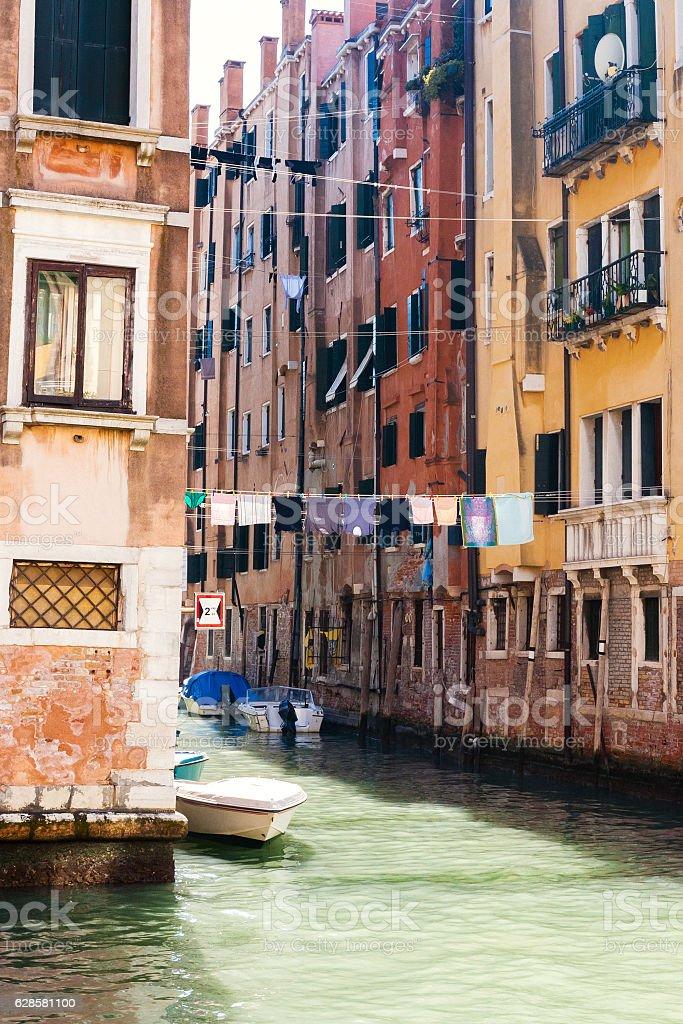 living houses in Cannaregio sestieri in Venice stock photo