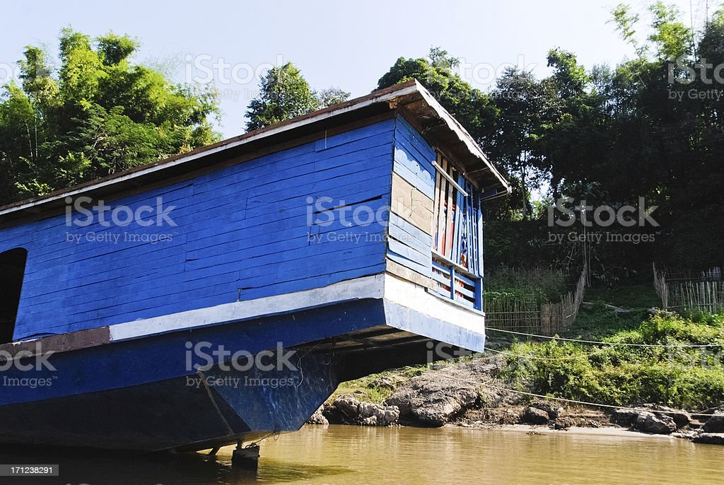 Living in a boat stock photo