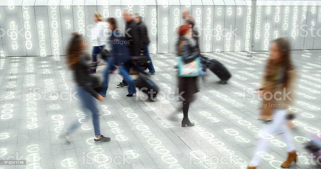 Living in a data matrix city. stock photo