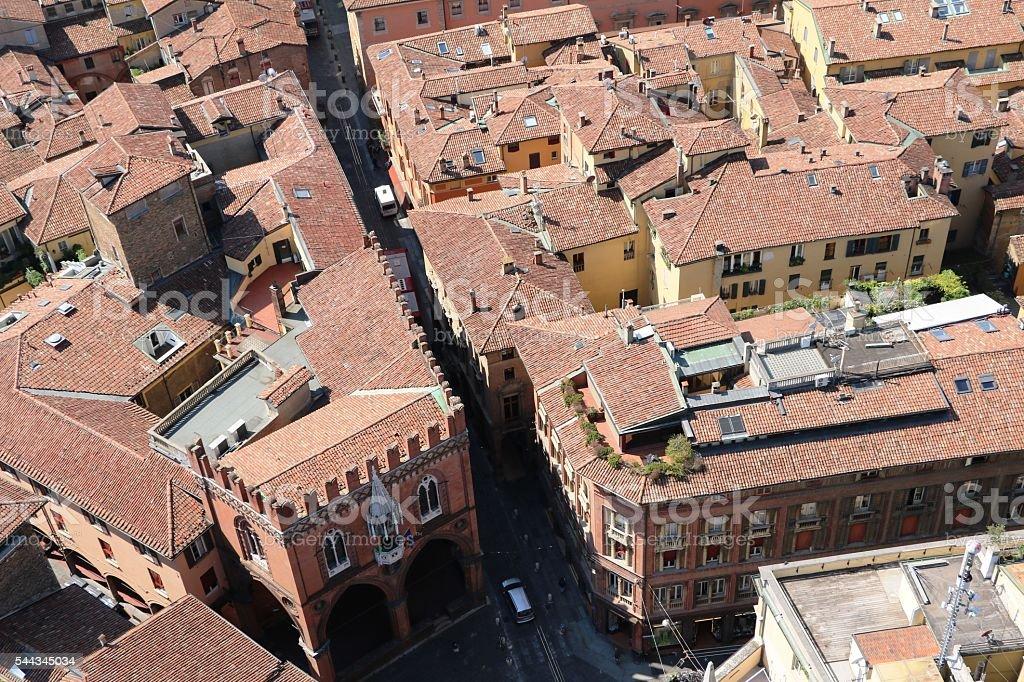 Living in Bologna, Piazza di Porta Ravegnana, Italy stock photo