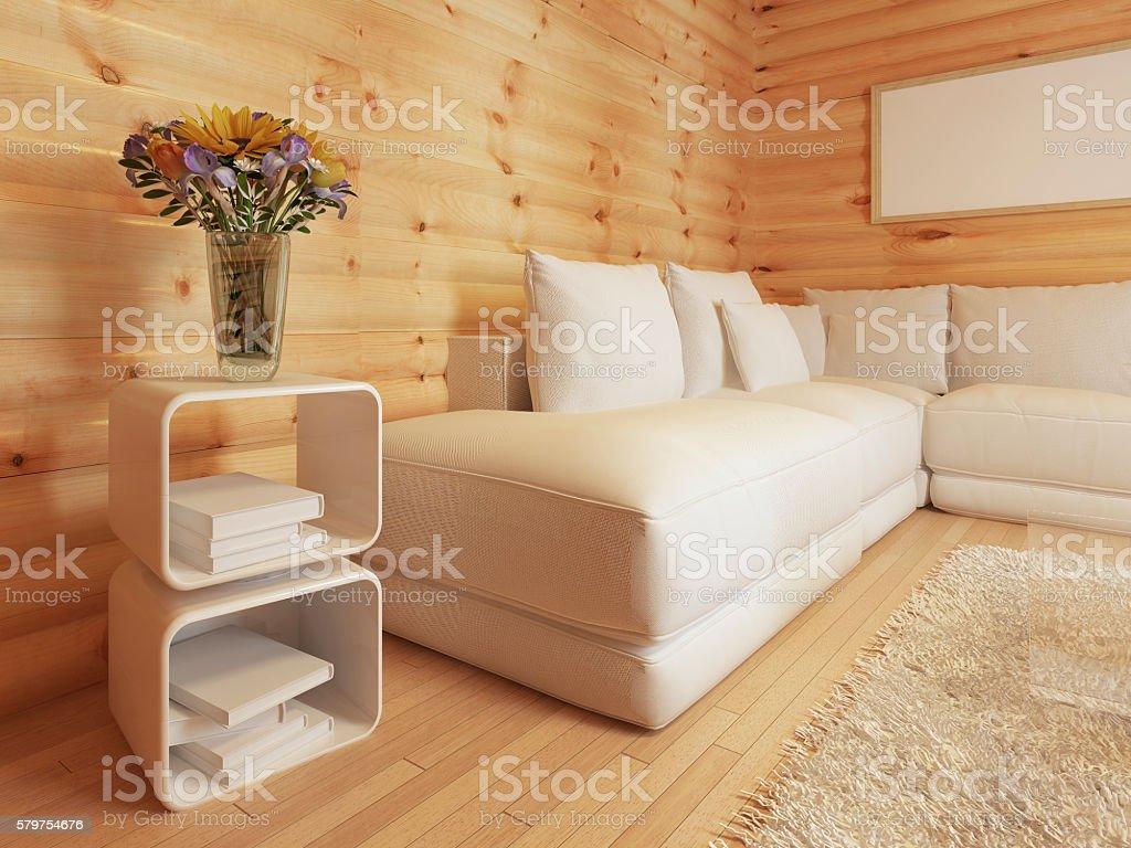 living in log interior with large white corner sofa. stock photo