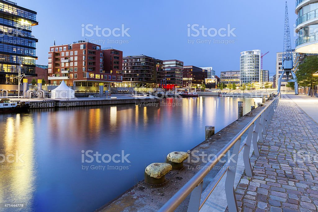 Living in the modern and blue Hamburg Hafencity stock photo