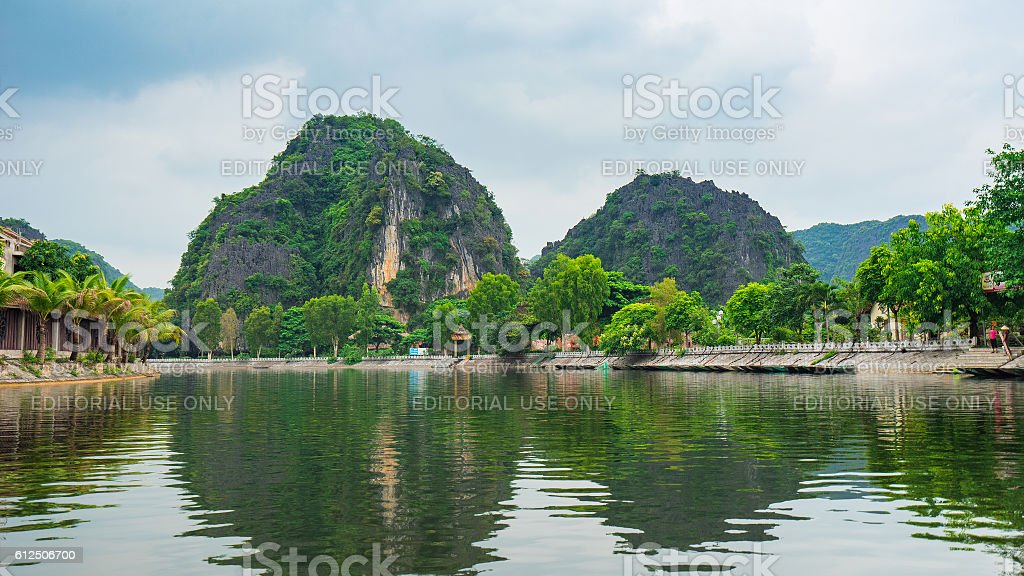 Living in the Trang An Ninh Binh, Viet nam stock photo