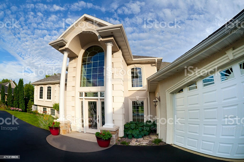 Living Large; Front Entrance to Mansion Home, Fisheye Perspective stock photo