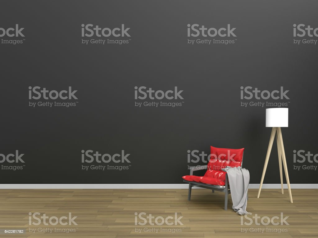 Living Modern Red-Black minimal style / Chairs cloth and lamp stock photo