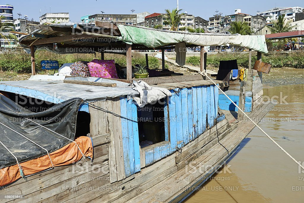Living on a Motorboat in Yangon royalty-free stock photo
