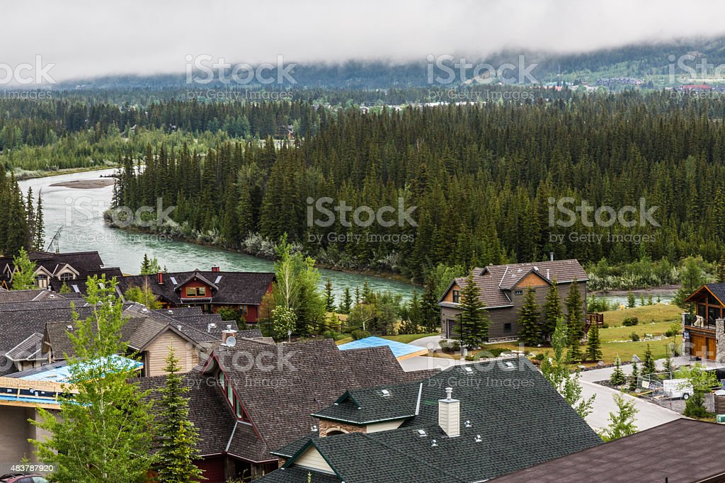 living on the edg of Bow River stock photo