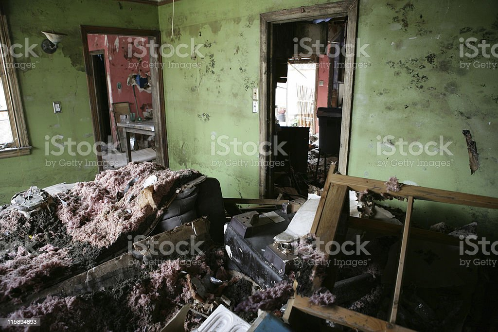 Living Room after Katrina stock photo