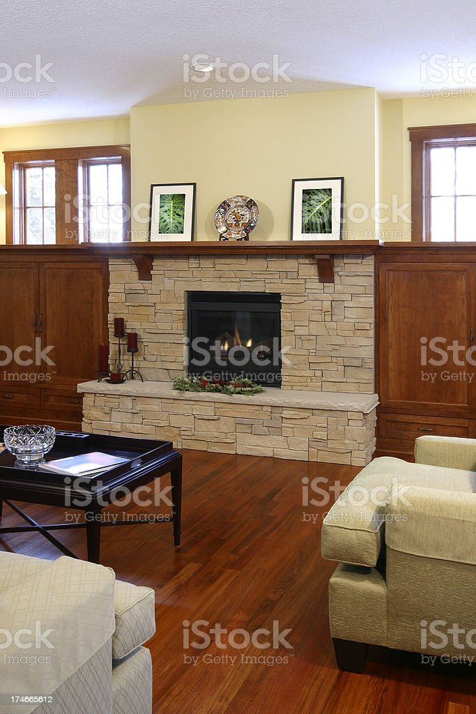 Living room and fireplace. royalty-free stock photo