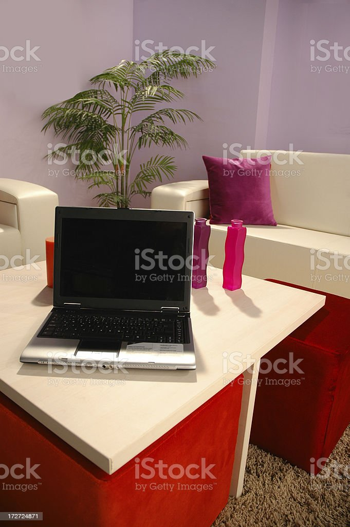 living room and laptop royalty-free stock photo