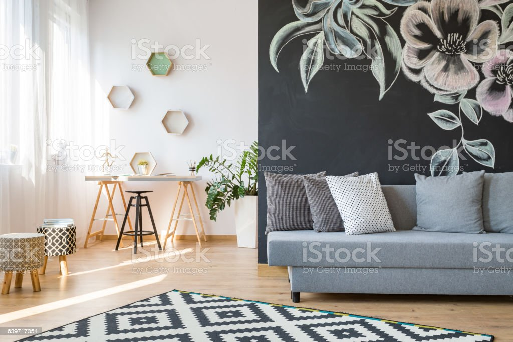 Living room and workshop stock photo