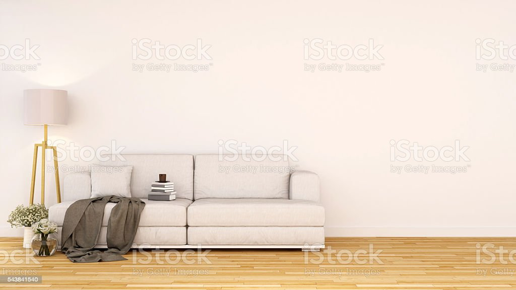 living room area or library area - 3D rendering stock photo