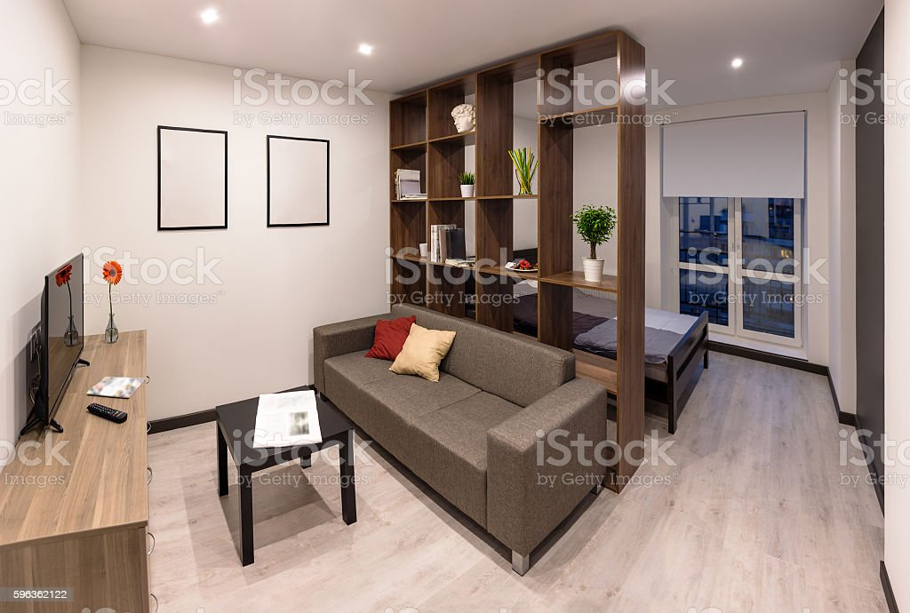 Living room at the evening stock photo
