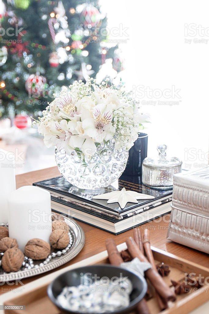 Living room Christmas coffee table decoration stock photo