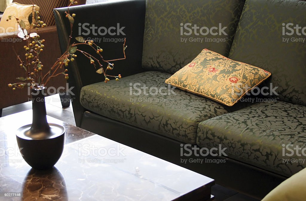 Living room classic sofa and table stock photo