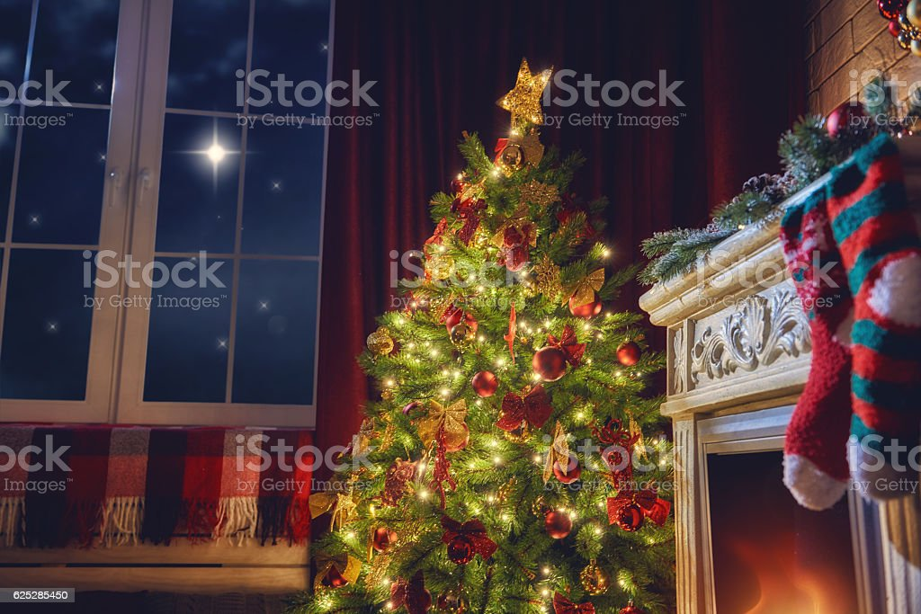 living room decorated for Xmas stock photo