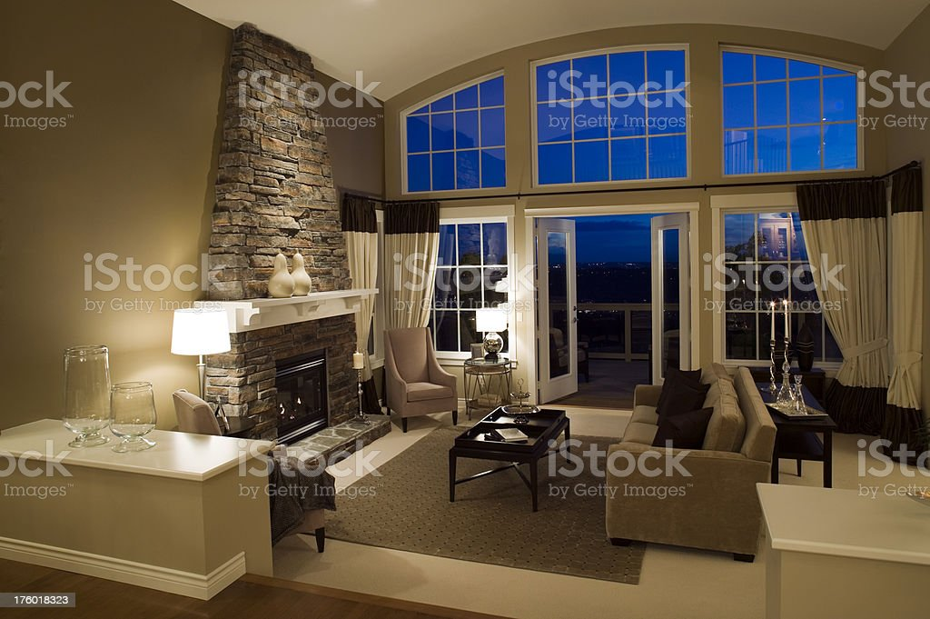 living room estate mansion home windows stock photo