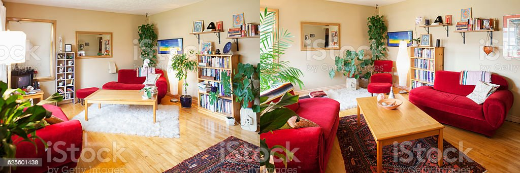 Living Room Feng Shui Redecoration Before and After stock photo