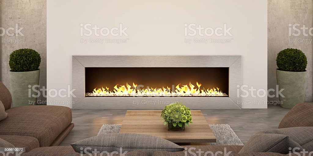 Living Room Fireplace stock photo