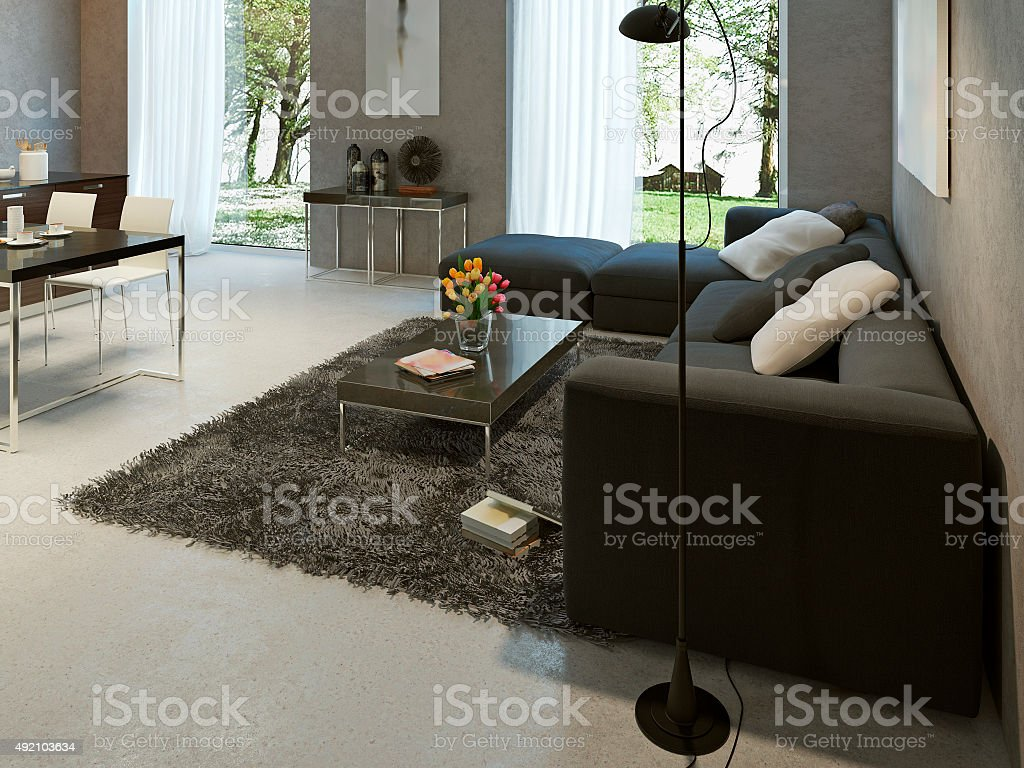 Living room high-tech style stock photo