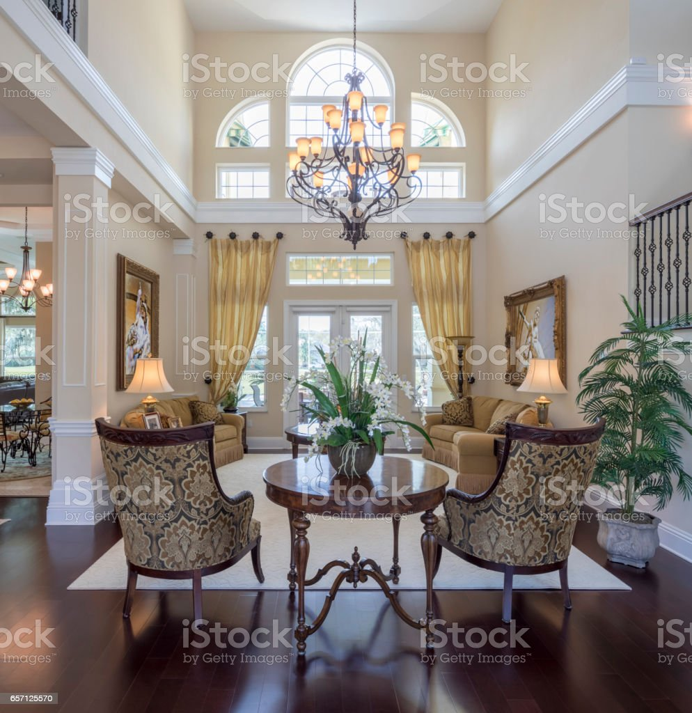 Living Room in an Estate Home stock photo